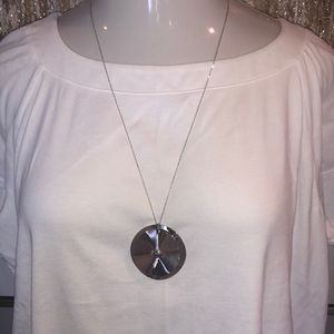 SILVER ABSTRACT CIRCLE PENDANT NECKLACE